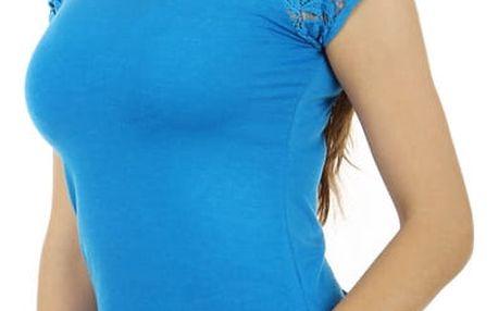 Dámské jednoduché tričko s krajkou světle modrá