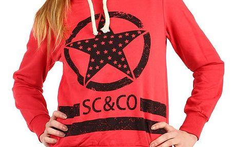 Dámská bavlněná mikina s potiskem červená