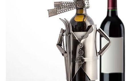 Kovový Stojan na Víno Lyžař