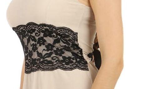 Krátké šaty s krajkou v pase béžová