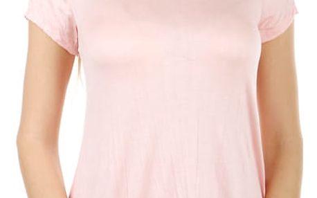 Dámské asymetrické tričko světle růžová
