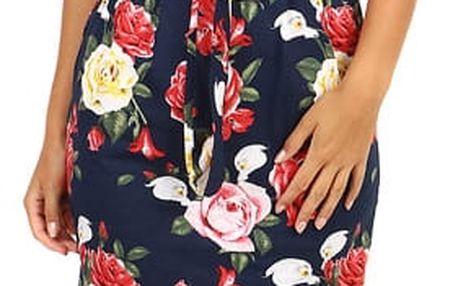 Bavlněné květinové šaty s krátkým rukávem tmavě modrá