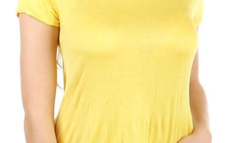 Pohodlné tričko s krátkým rukávem žlutá