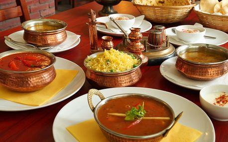 Indické menu včetně chodů i pro vegetariány
