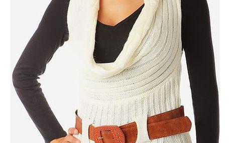 Dámská pletená vesta s páskem bílá