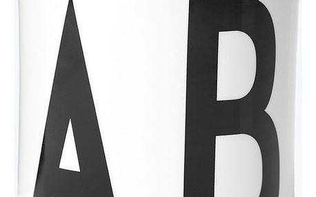 DESIGN LETTERS Dóza s víčkem Letters Black, černá barva, bílá barva, porcelán