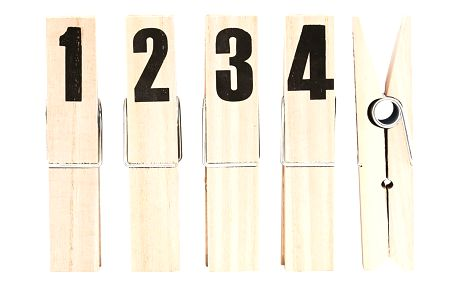 House Doctor Dekorativní kolíčky maxi Numbers - set 4 ks, béžová barva, dřevo