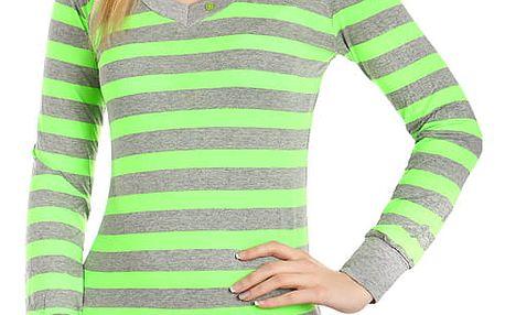 Dámské pruhované tričko zelená