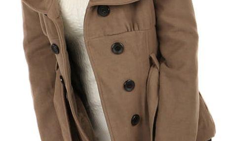 Krátký dámský kabát s límcem hnědá