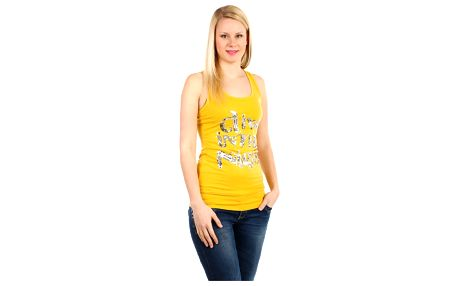 Dámské tílko s flitrovým nápisem žlutá