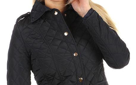 Dámská prošívaná bunda s límečkem tmavě modrá