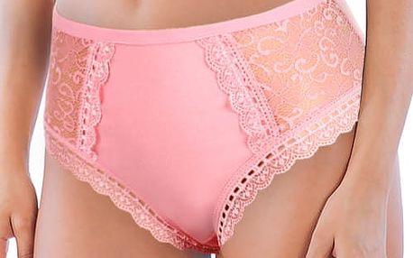 Dámské kalhotky s krajkou vysoký pas světle růžová