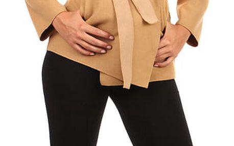 Krátký zavinovací dámský kabát světle hnědá