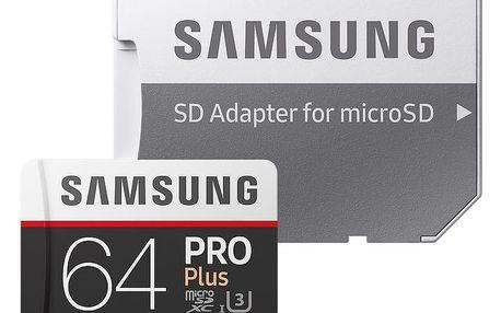 Samsung Micro SDXC 64GB PRO Plus UHS-I U3 + SD adaptér - MB-MD64GA/EU