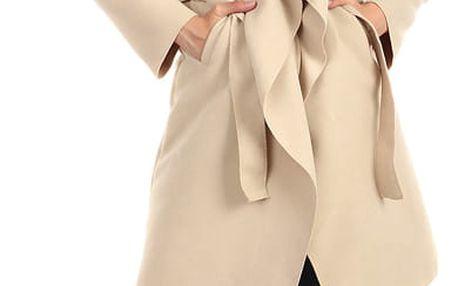 Dlouhý kabát - kardigan s páskem fialová