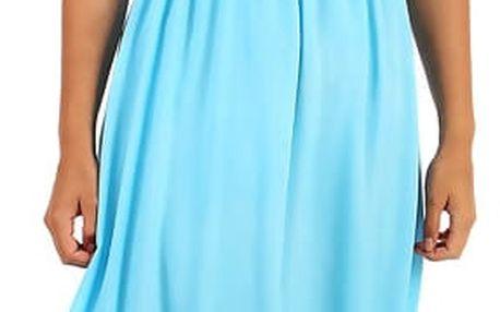 Letní jednobarevné plážové maxi šaty světle modrá