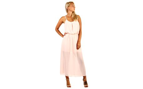 Dlouhé šifonové maxi šaty světle růžová