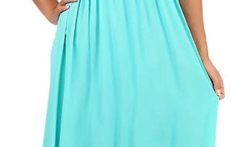 Letní jednobarevné plážové maxi šaty modrozelená