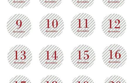 Bloomingville Adventní nálepky 1-24 Red Stripe - set 24 ks, červená barva, šedá barva, papír