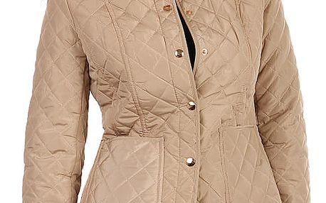 Dámská prošívaná bunda s límečkem béžová