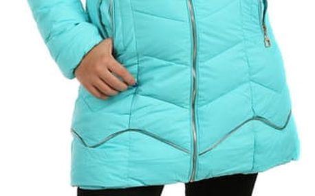Delší prošívaná bunda s ozdobným zipem tmavě modrá
