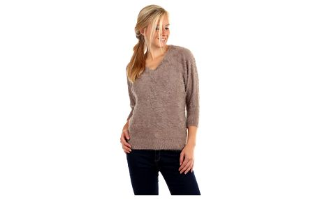 Dámský chlupatý svetr s 3/4 rukávy béžová