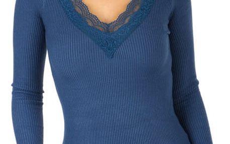 Dámské žebrované triko tmavě modrá