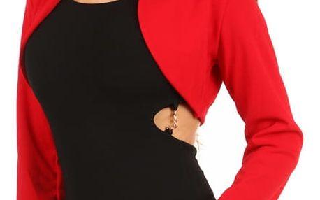 Elegantní společenské bolerko s dlouhým rukávem červená