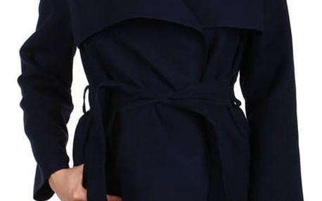 Dlouhý dámský kabát - kardigan s páskem tmavě modrá