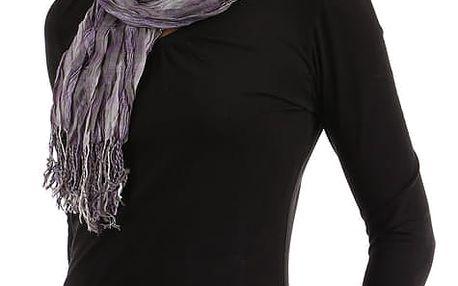 Kostkovaný šátek s třásněmi fialová
