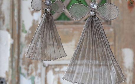 Chic Antique Dekorativní andílek Vintage 22cm, šedá barva, kov