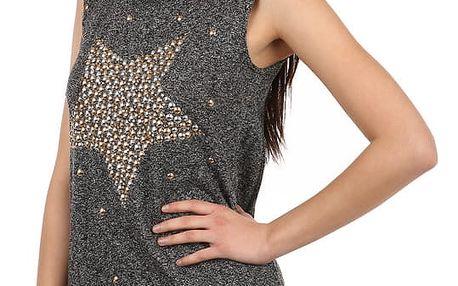Stylové tričko s kamínkovým potiskem černá