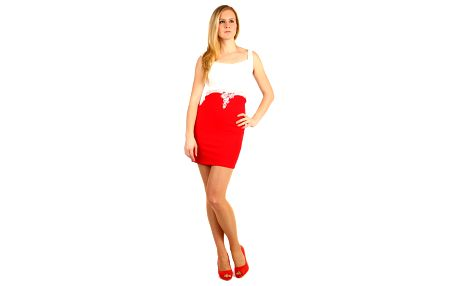 Pouzdrové šaty s krajkou v horní části červená