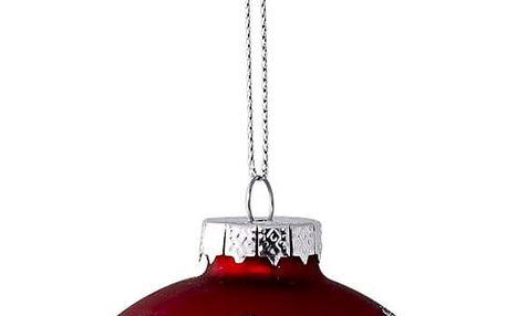 Bloomingville Vánoční baňka Red & Glitter, červená barva, sklo