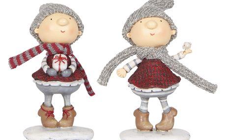 IB LAURSEN Vánoční figurka Santa's helper holčička Typ B (s ptáčkem), červená barva, šedá barva, pryskyřice