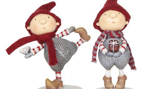 IB LAURSEN Vánoční figurka Santa's helper chlapeček Typ B (s dárečkem), červená barva, šedá barva, pryskyřice