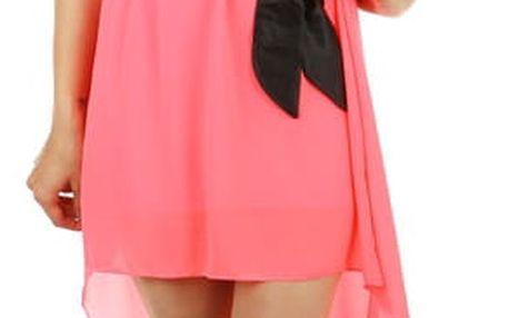 Asymetrické šaty s krajkou neon růžová