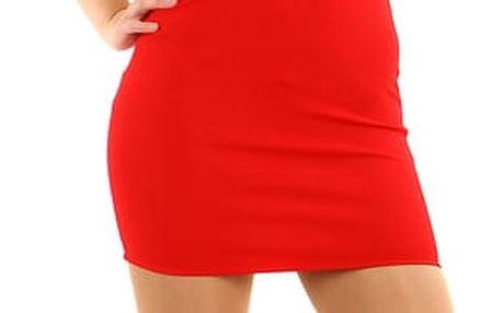 Krátké pouzdrové šaty s kamínkovou aplikací červená