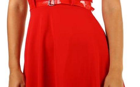 Áčkové proužkované šaty s páskem červená