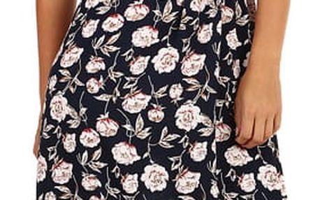 Dlouhé letní šaty s květinovým vzorem krémová