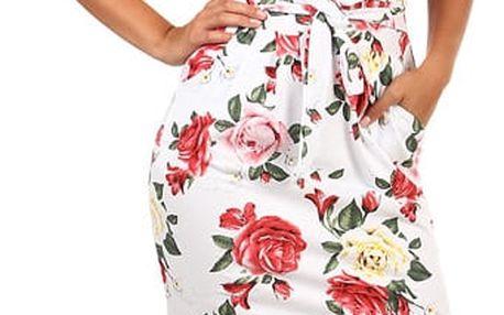 Bavlněné květinové šaty s krátkým rukávem bílá