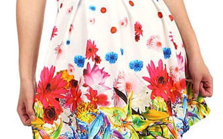 Letní květované šaty bílá