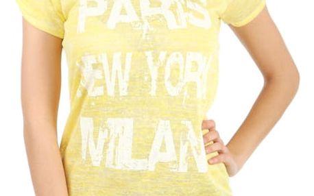 Moderní tričko s potiskem žlutá