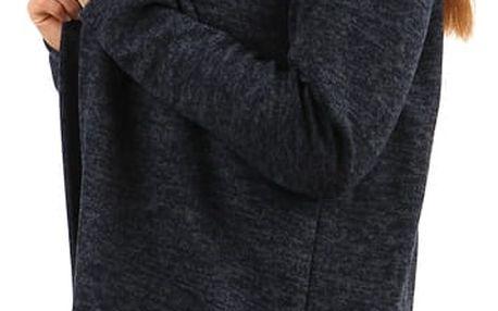Melírovaný cardigan s kapucí tmavě modrá