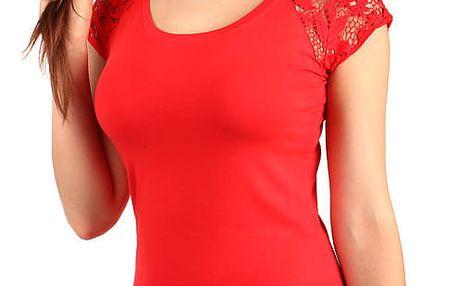 Dámské jednoduché tričko s krajkou růžová