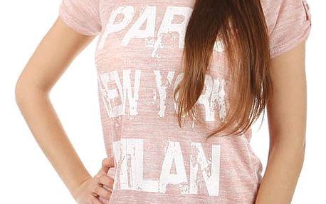 Žíhané triko s potiskem růžová