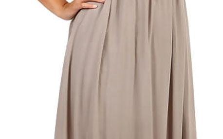 Letní jednobarevné plážové maxi šaty hnědá
