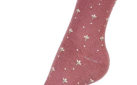 Dámské ponožky s květy hnědá