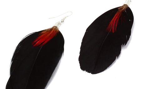 Peříčkové visací náušnice černá