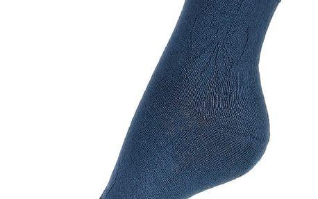 Jednobarevné ponožky s obrysem mašle modrá